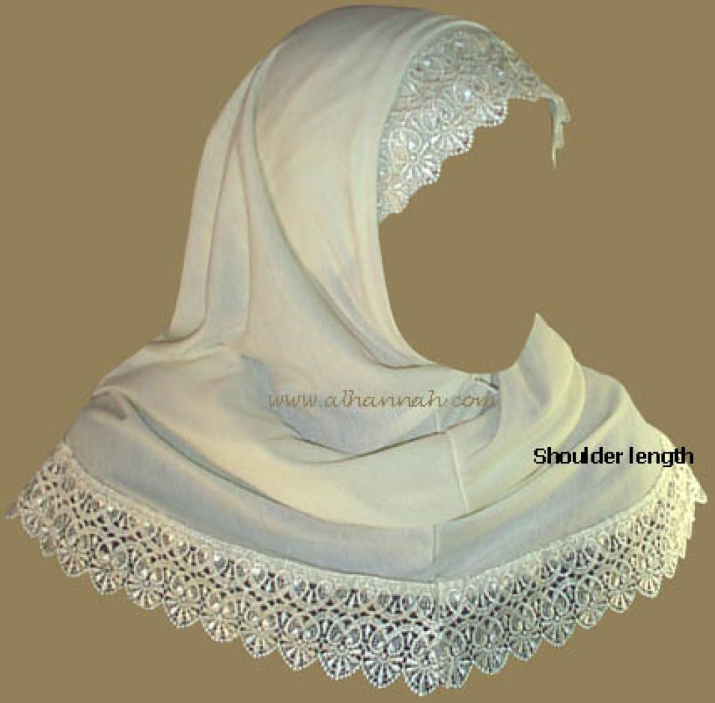 Al-Amira Two piece Religious Veil With Lace Edge  hi106