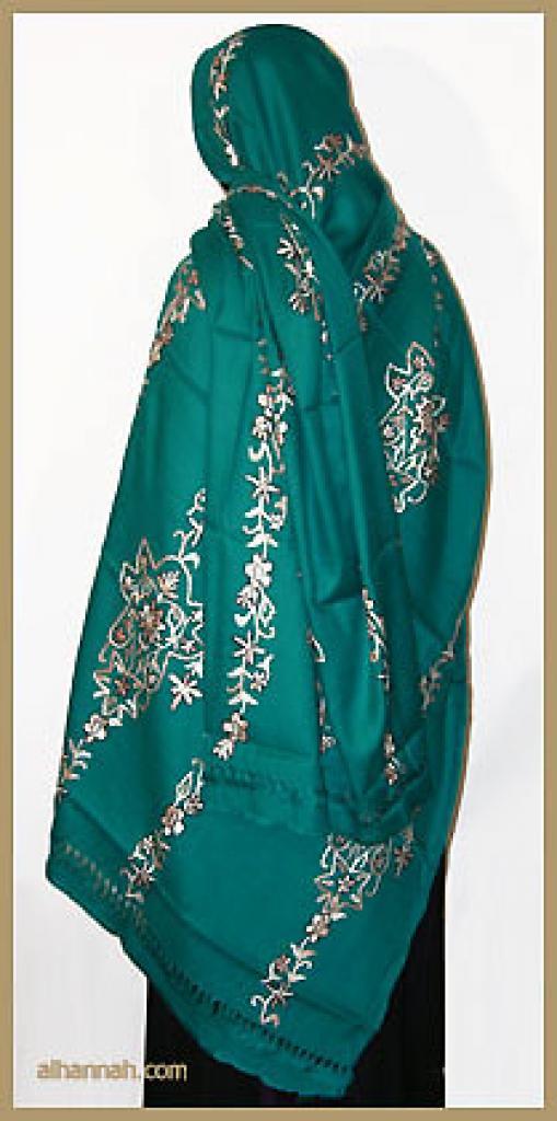 Oversized Embroidered Acrylic Shawl hi1136