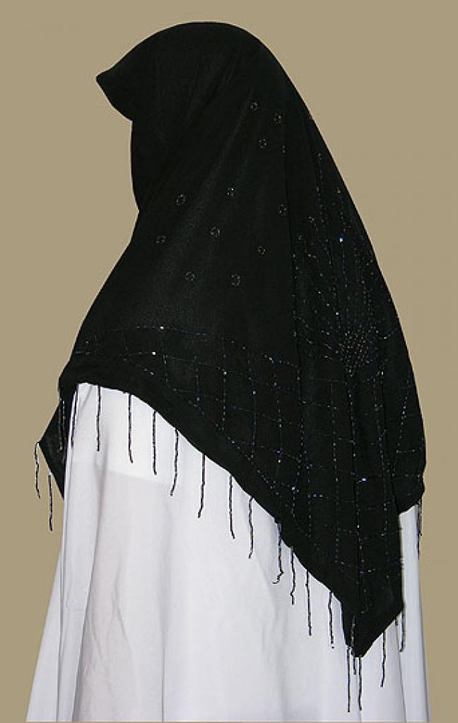 Beaded triangle hijab hi1343