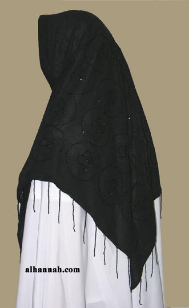 Beaded triangle hijab hi1344