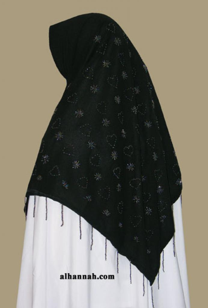 Beaded triangle hijab hi1345