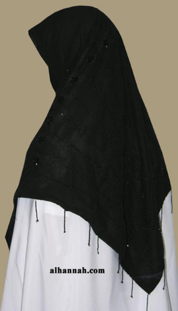 Beaded triangle hijab hi1349