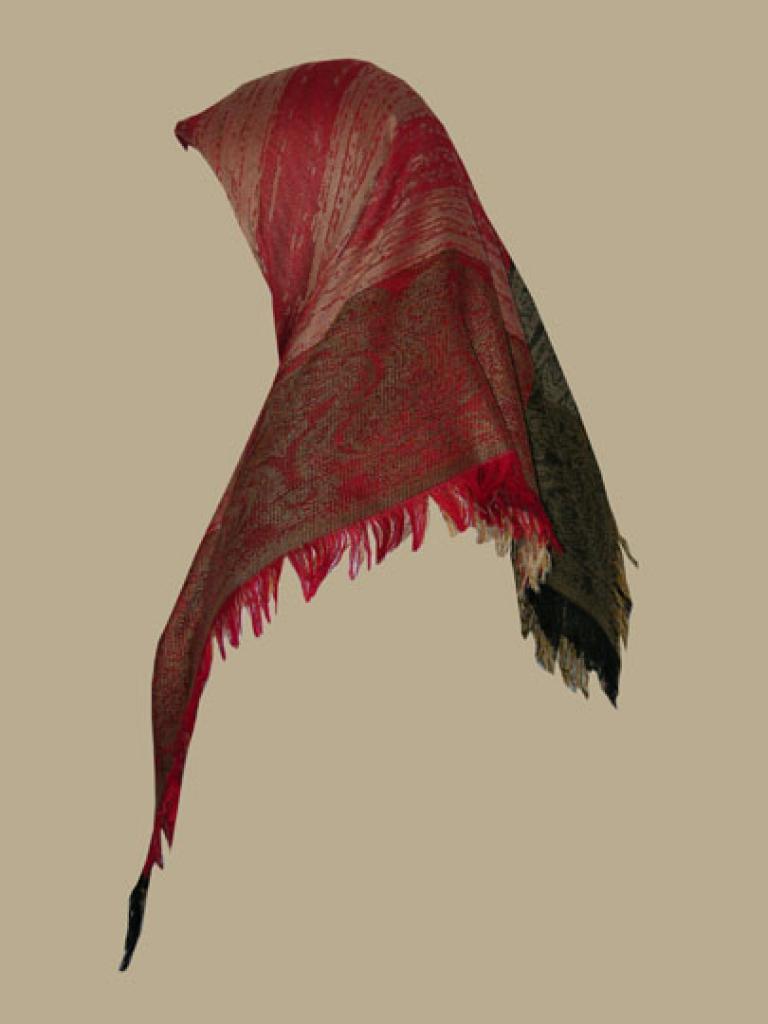 Silk-Rayon blend fringed hijab hi1392