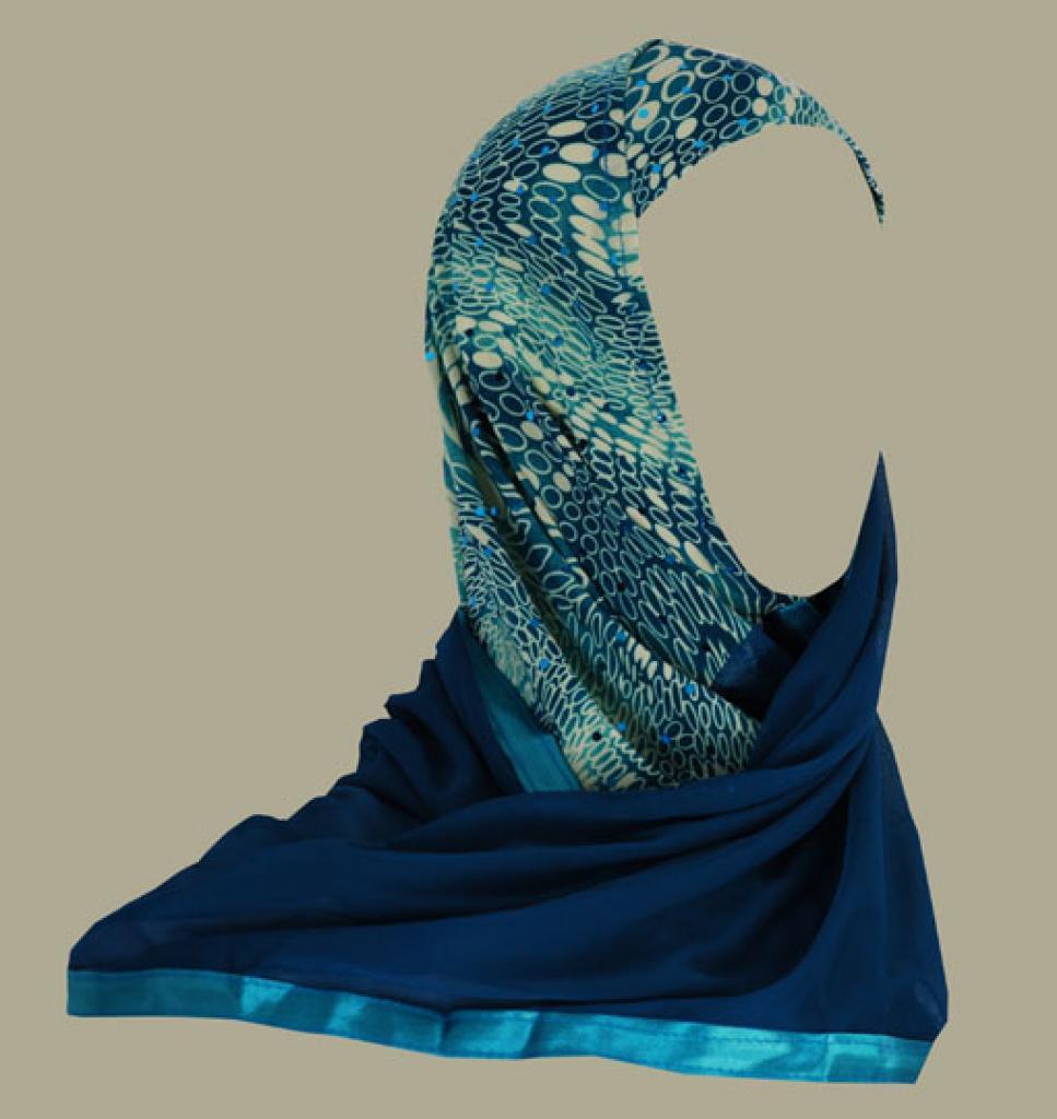 Kuwaiti style twist hijab hi1404