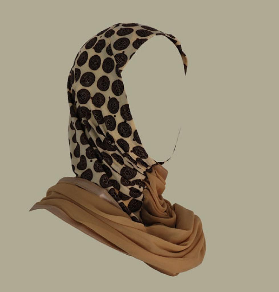 Kuwaiti style twist hijab hi1408