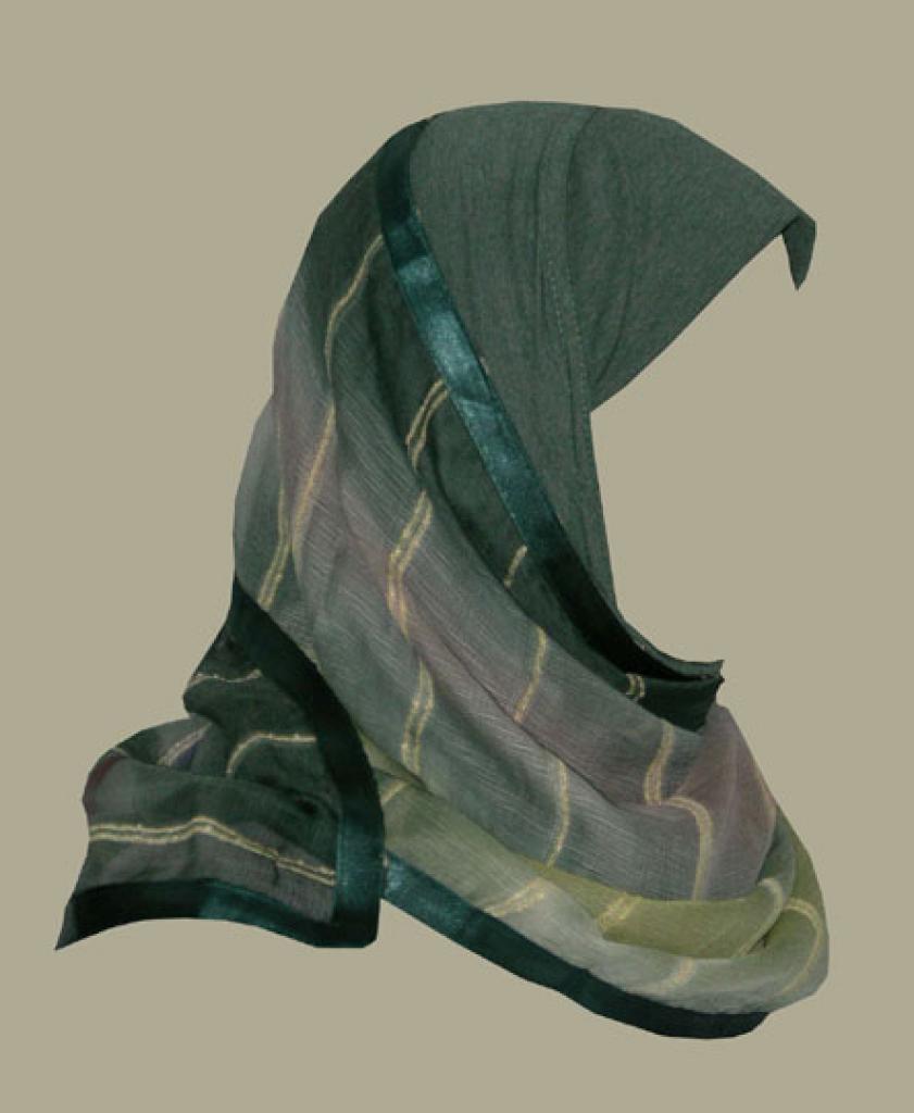 Kuwaiti style twist hijab hi1428