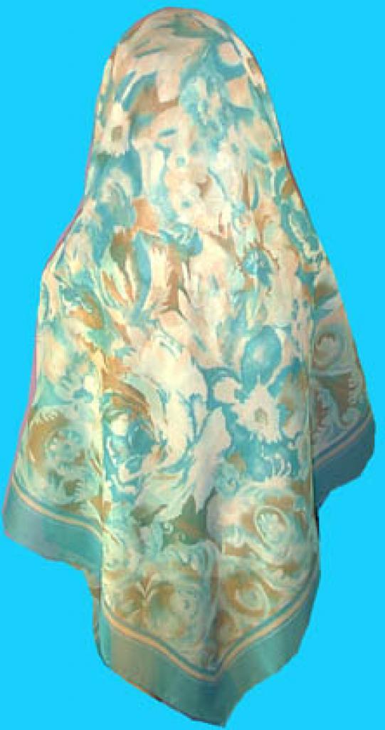 Deluxe Italian Chiffon Hijab Blue Print hi144