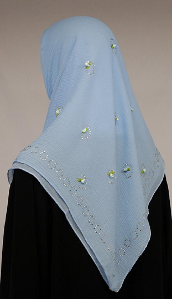 Floral Accented Chiffon Georgette Hijab hi1577