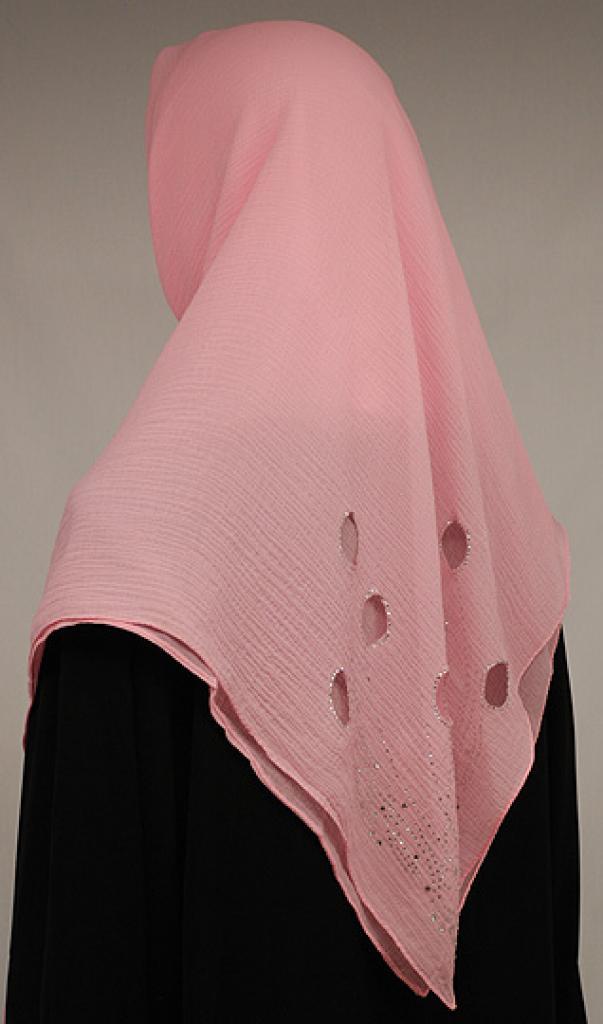 Oval Cutout Chiffon Georgette Hijab hi1578