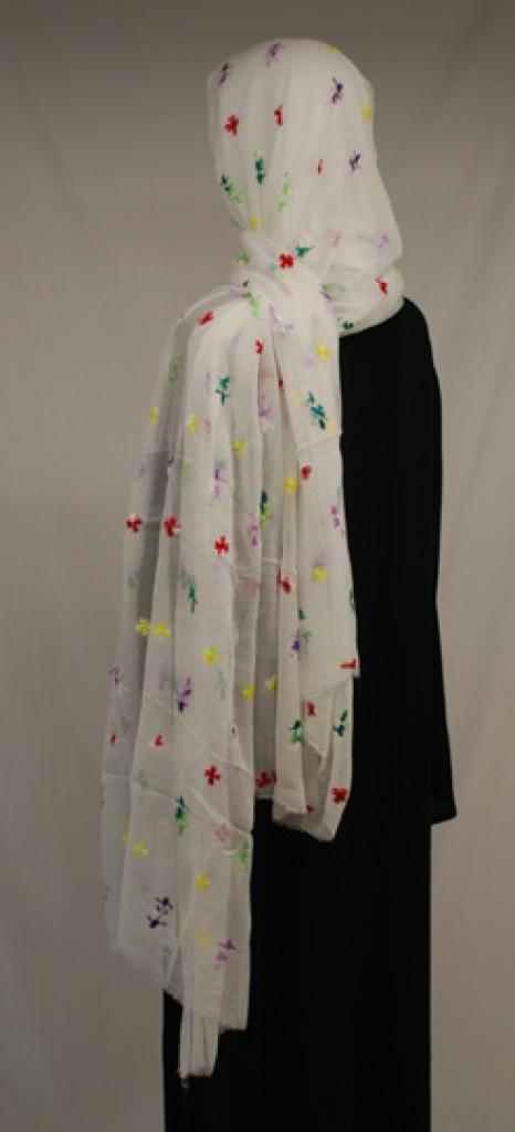 Small Floral Embroidered Cotton Shayla Wrap  hi1583