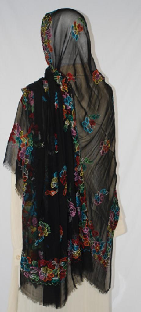 Floral Border Embroidered Cotton Shayla Wrap hi1584
