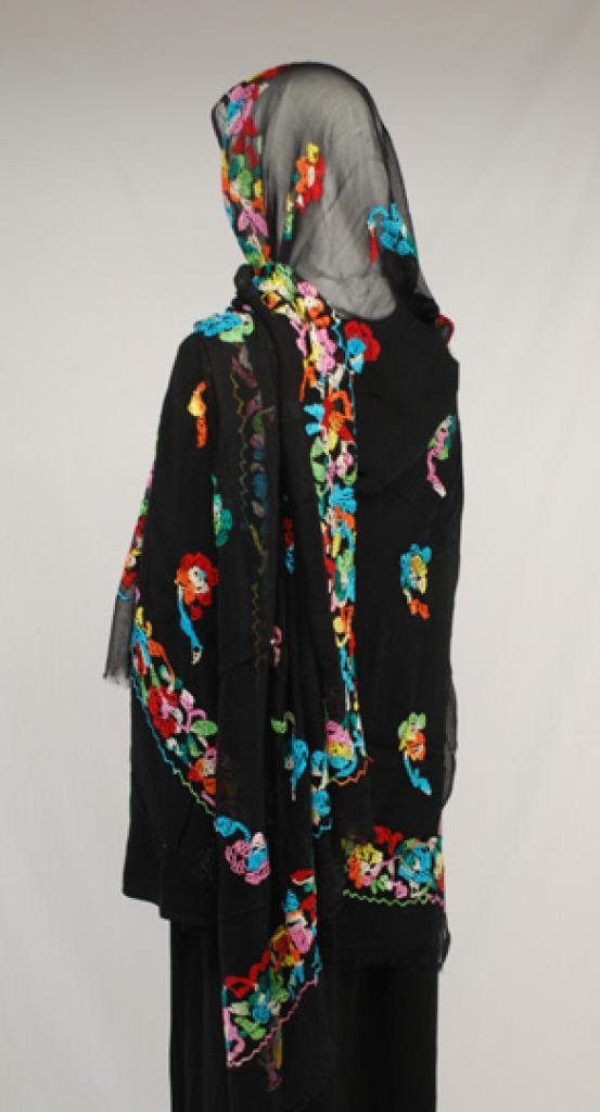 Vivid Floral Embroidered Cotton Shayla Wrap  hi1585