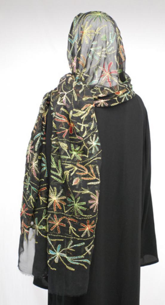 Multicolor Foliage Embroidered Cotton Shayla Wrap  hi1586