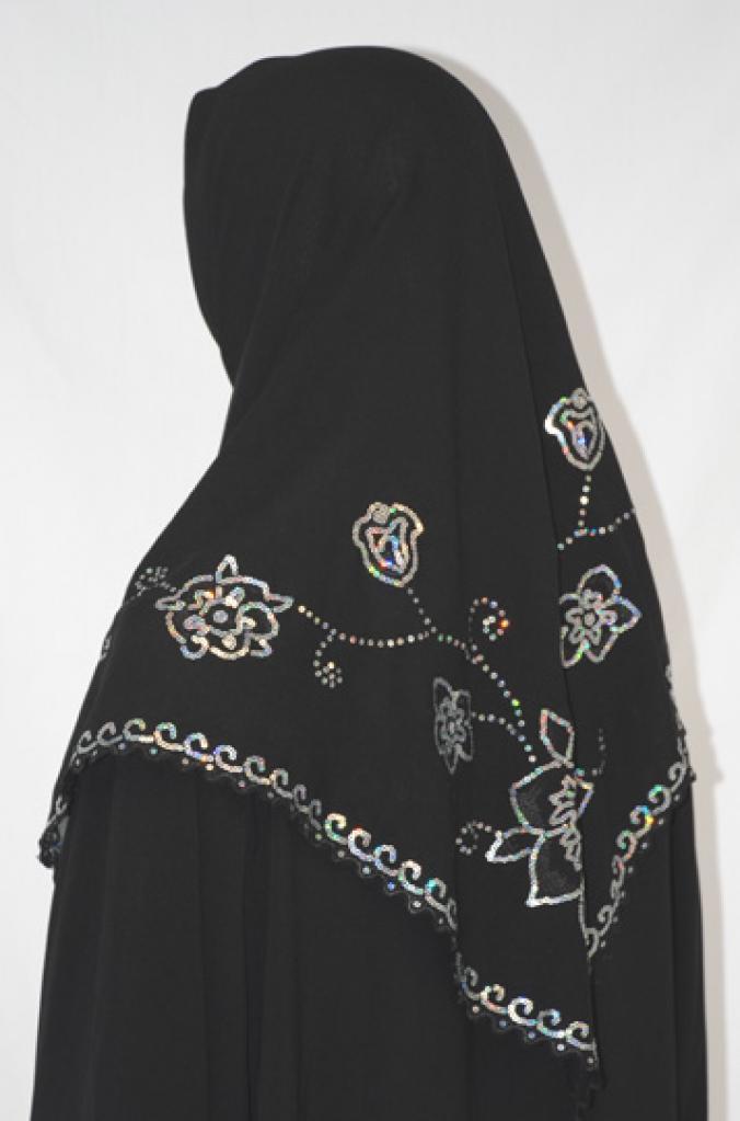 Floral Sequined Chiffon Hijab hi1587