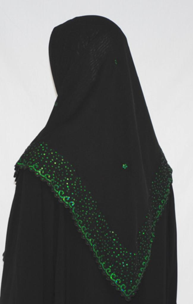 Sequined Border Festive Hijab   hi1588