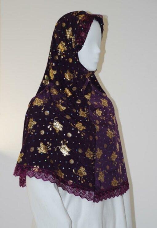 Lace Trim Floral Pattern Al Amirah Hijab hi1608