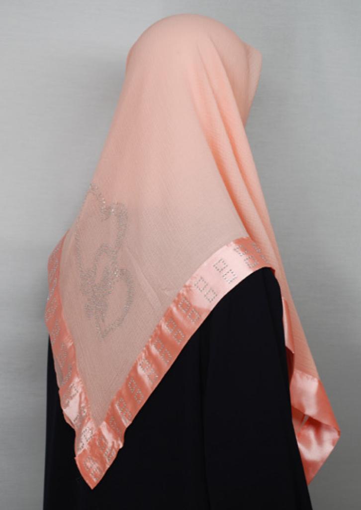 Beaded Satin Trim Chiffon Hijab hi1661