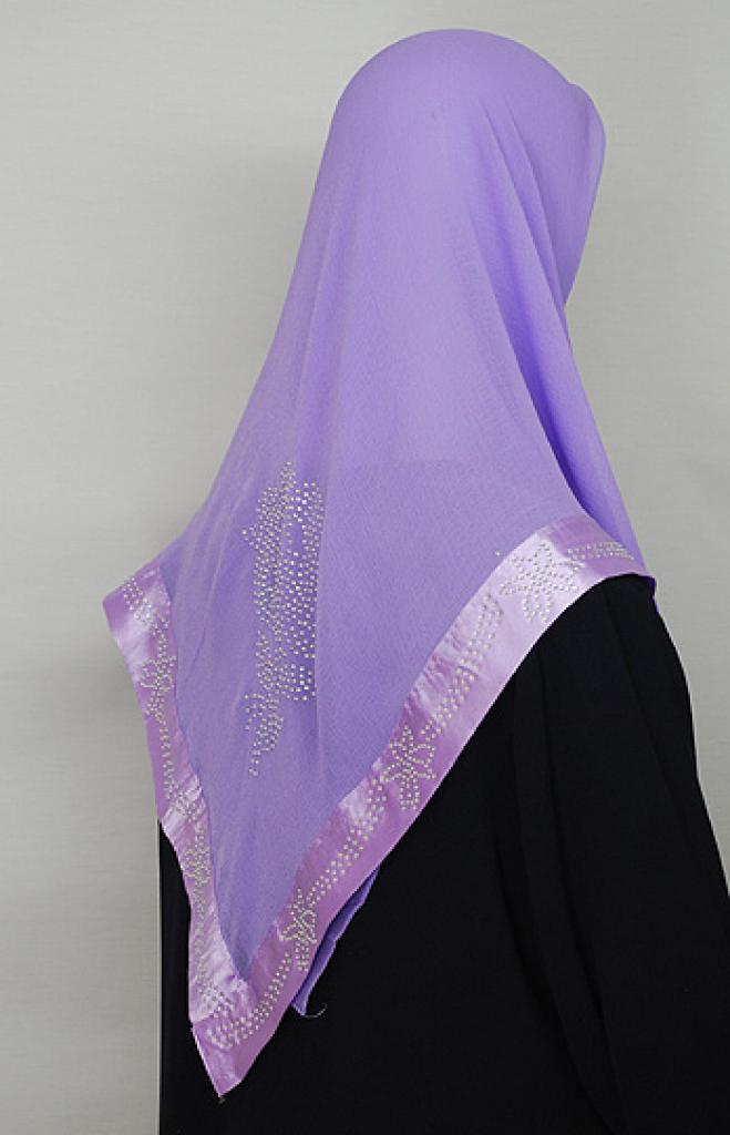 Floral Beaded Satin Trim Chiffon Hijab hi1662