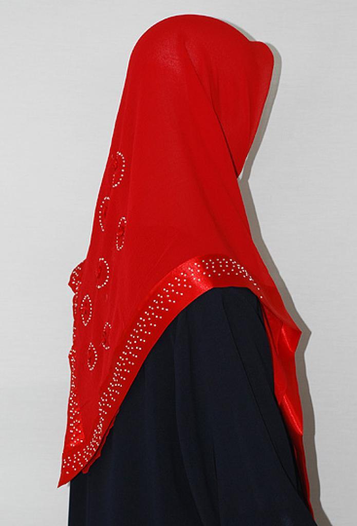 Floral Applique Satin Trim Chiffon Hijab hi1663
