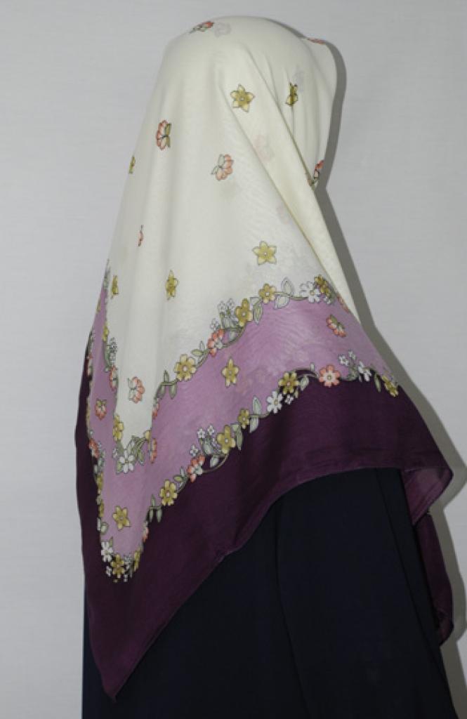 Floral Border Printed Square Hijab  hi1676