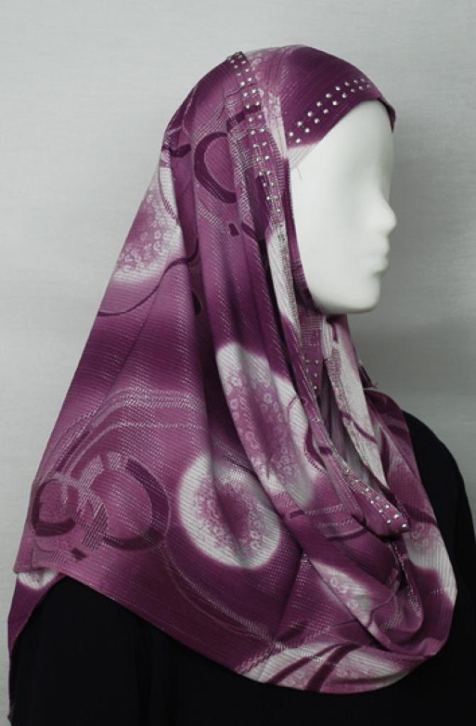 Ring Print Beaded Al Amirah Hijab with Beaded Underscarf hi1687