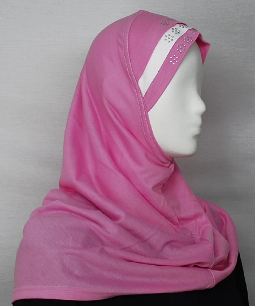 Striped Al Amirah Hijab with Beaded Underscarf hi1688