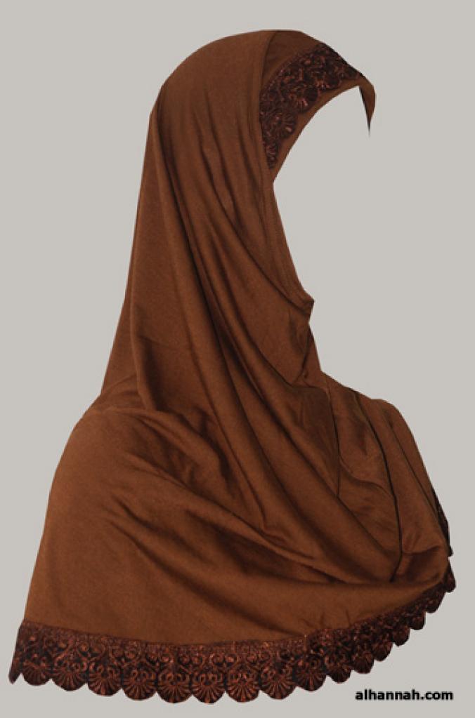 Cotton Blend Lace Trim Al Amirah Hijab hi1768