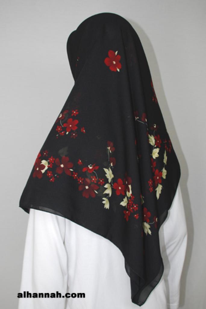 Solid Border Floral Print Turkish Hijab hi1785