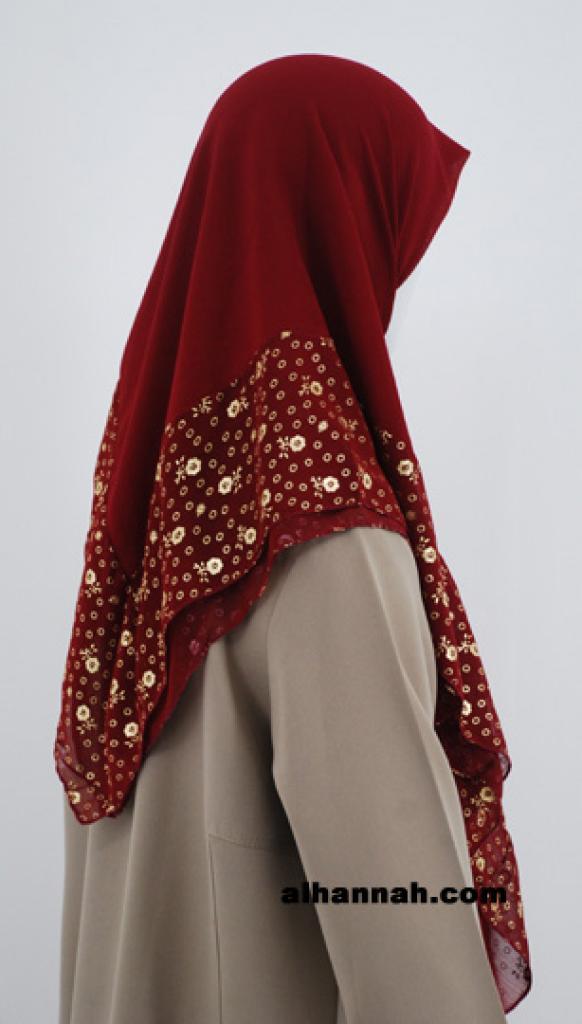Golden Floral Border Hijab hi1788