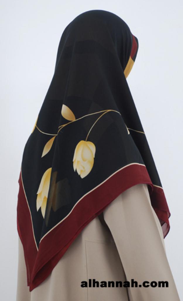 Elegant Rose Print Turkish Gauze Hijab hi1789