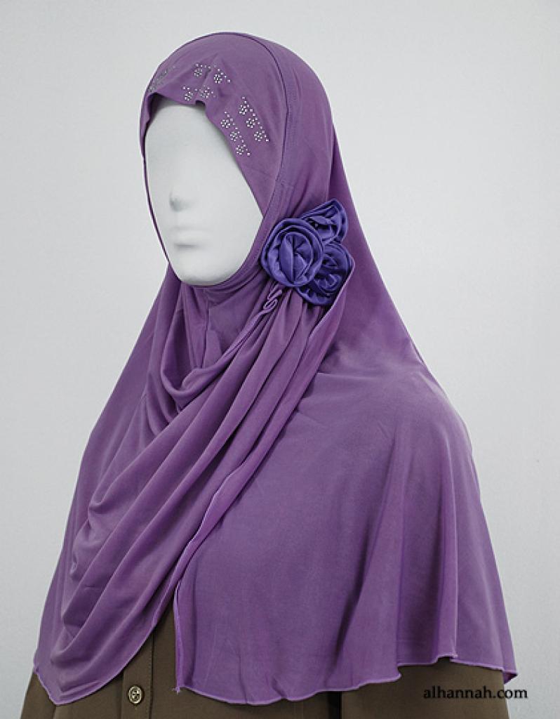 Al-Amirah Rouched Hijab with Floral Applique hi1843
