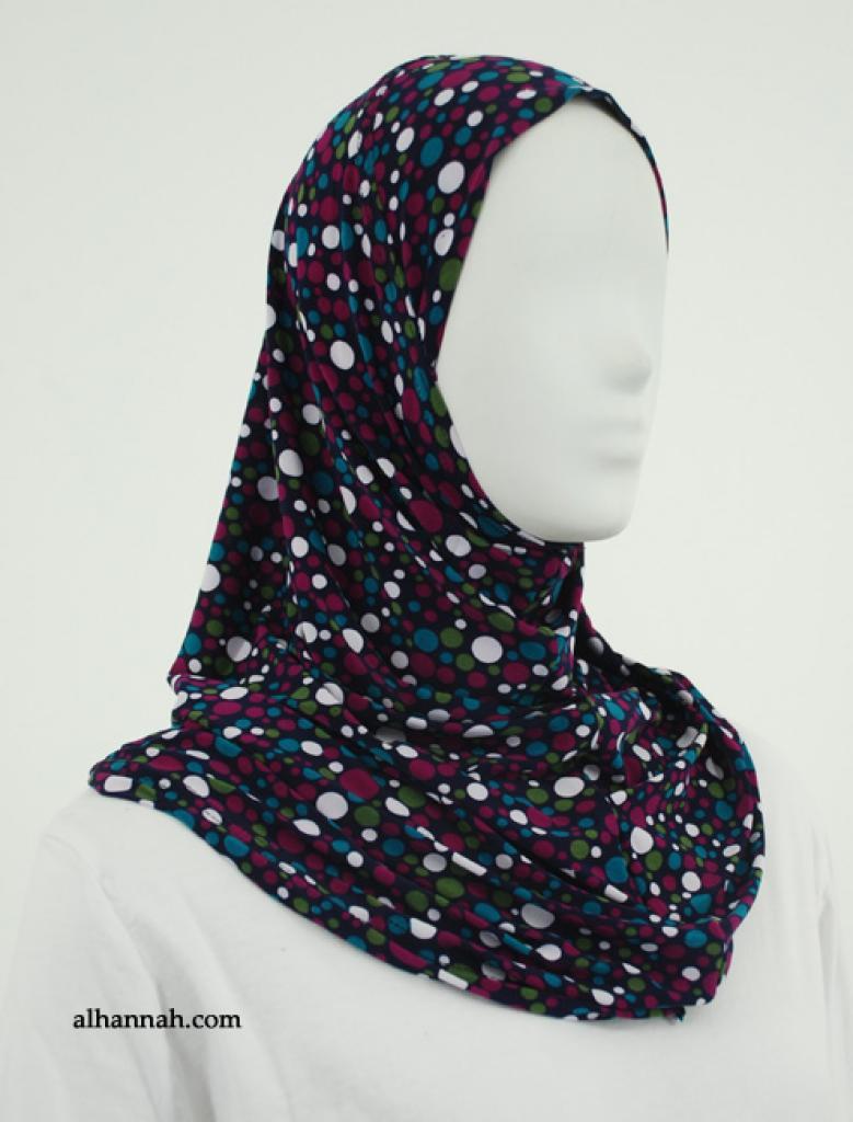 Vibrant Dots Print Al Amirah Hijab  hi1852