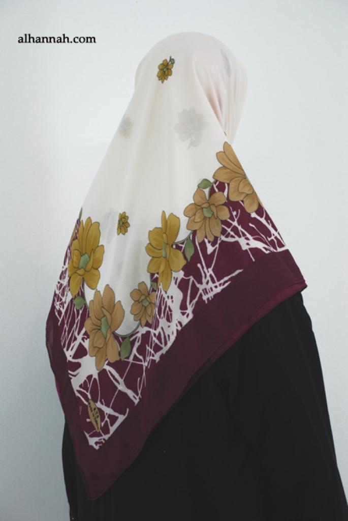 Floral Printed Square Hijab  hi1871