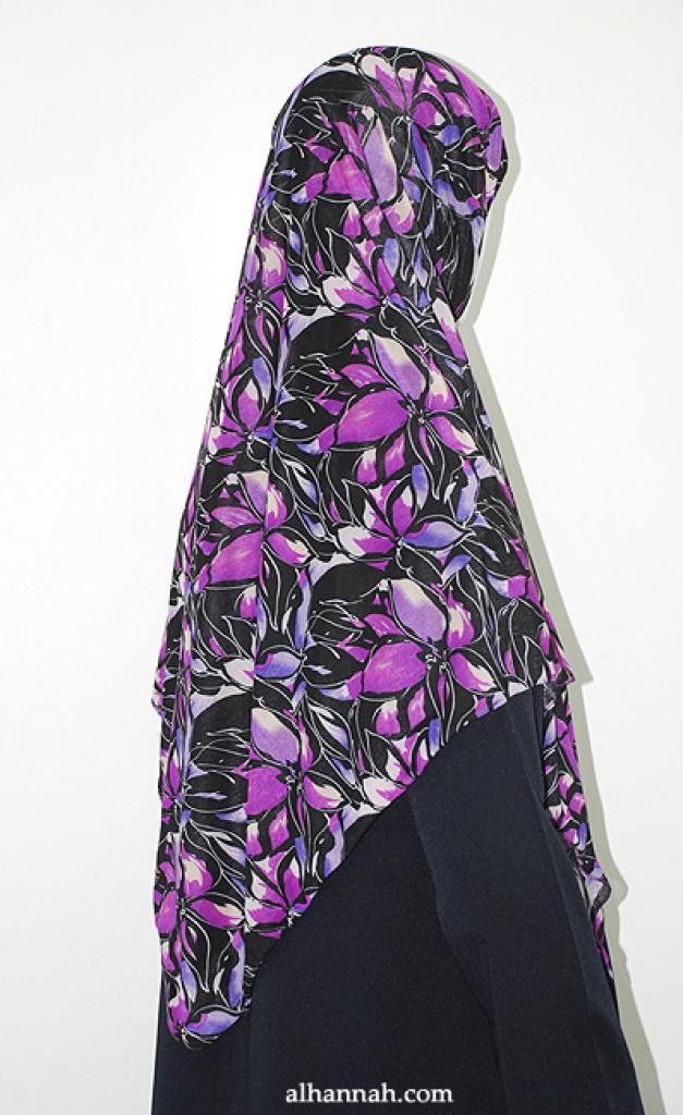 Elegant Floral Print Lycra Hijab hi1920