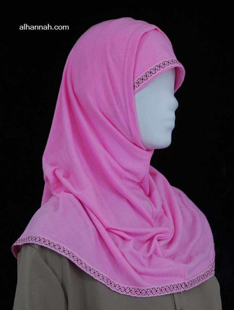 Two Piece Al Amirah Hijab with Crochet Trim hi1975