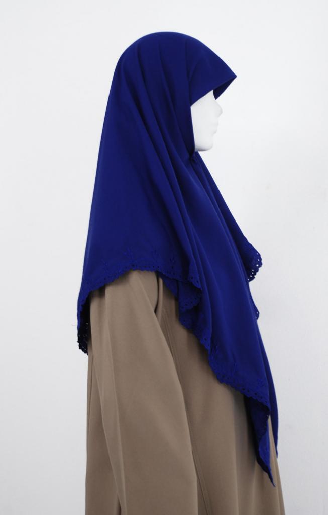 Floral Embroidered Solid Color Hijab hi1988