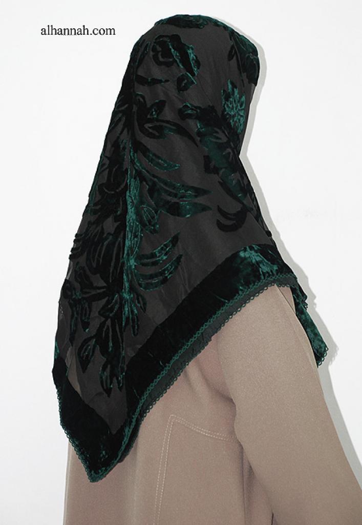 Floral Pattern Turkish Velvet Cutout Hijab hi1990