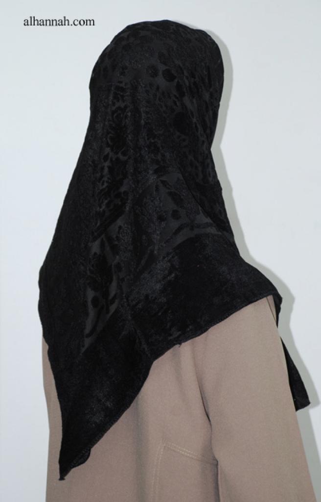 Turkish Black Velvet Cutout Hijab hi1992