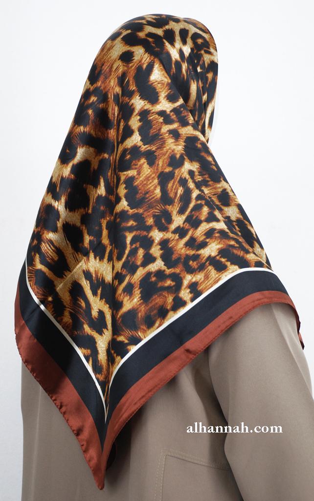 Leopard Print Turkish Satin Hijab hi2009