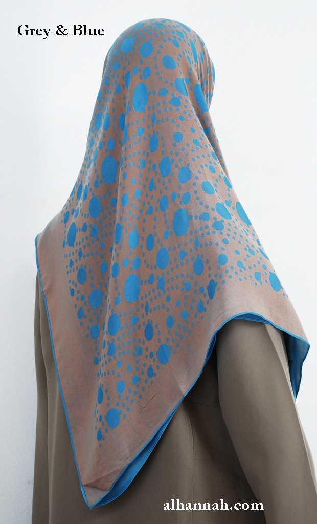 Oversize Printed Acrylic-blend Hijab hi2015