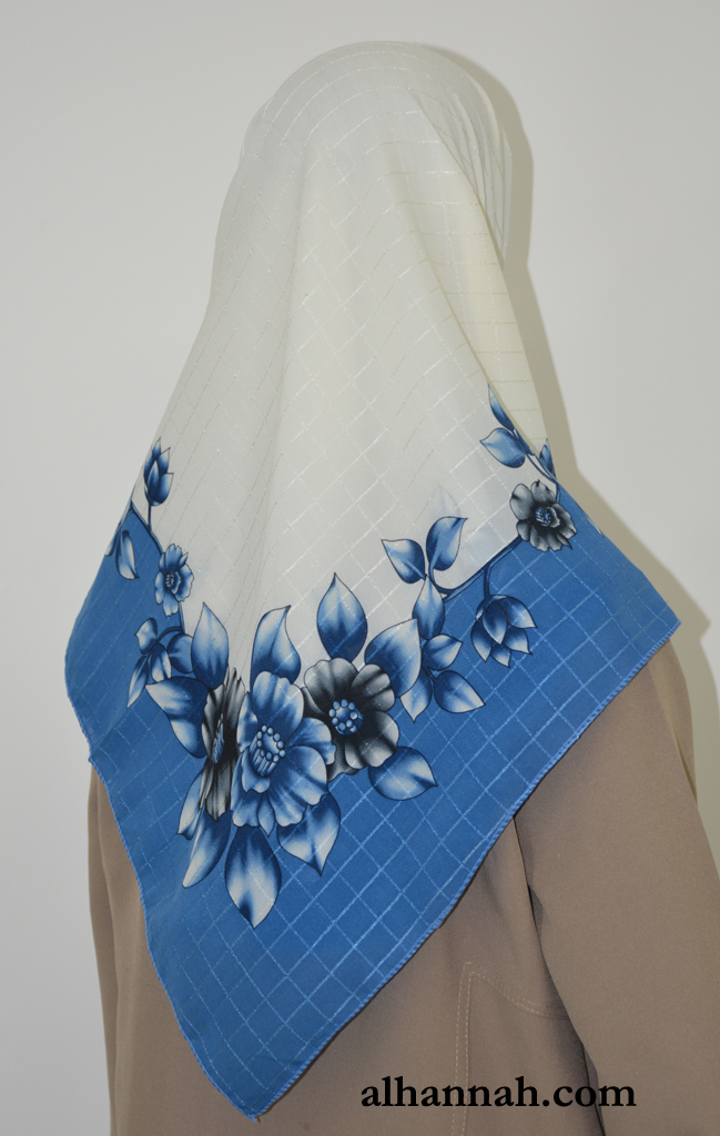 Floral Print Square Hijab with Solid color border hi2018