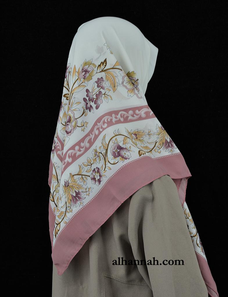 Floral Bordered Square Hijab hi2019