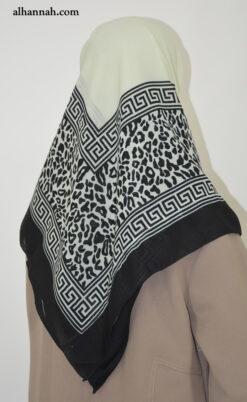 Square Hijab with Leopard Print Border hi2020