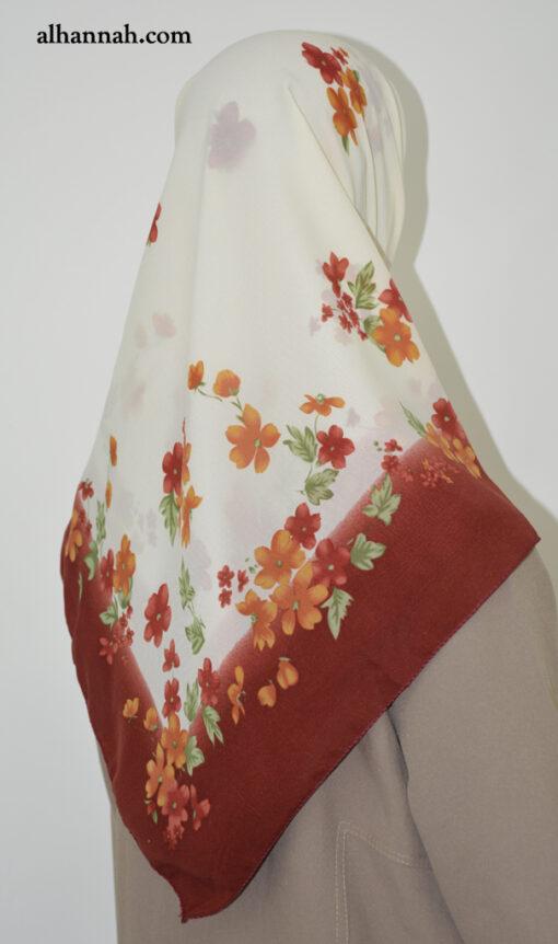 Mini-floral print Hijab with Solid Border hi2024
