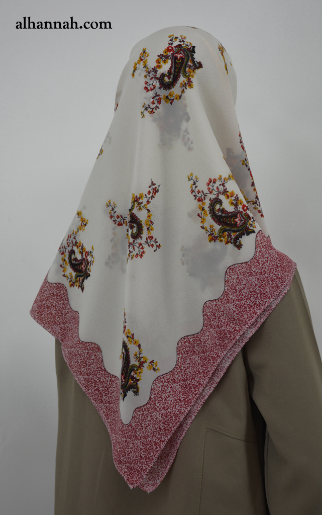 Square Hijab with Paisley and Lace Print hi2032