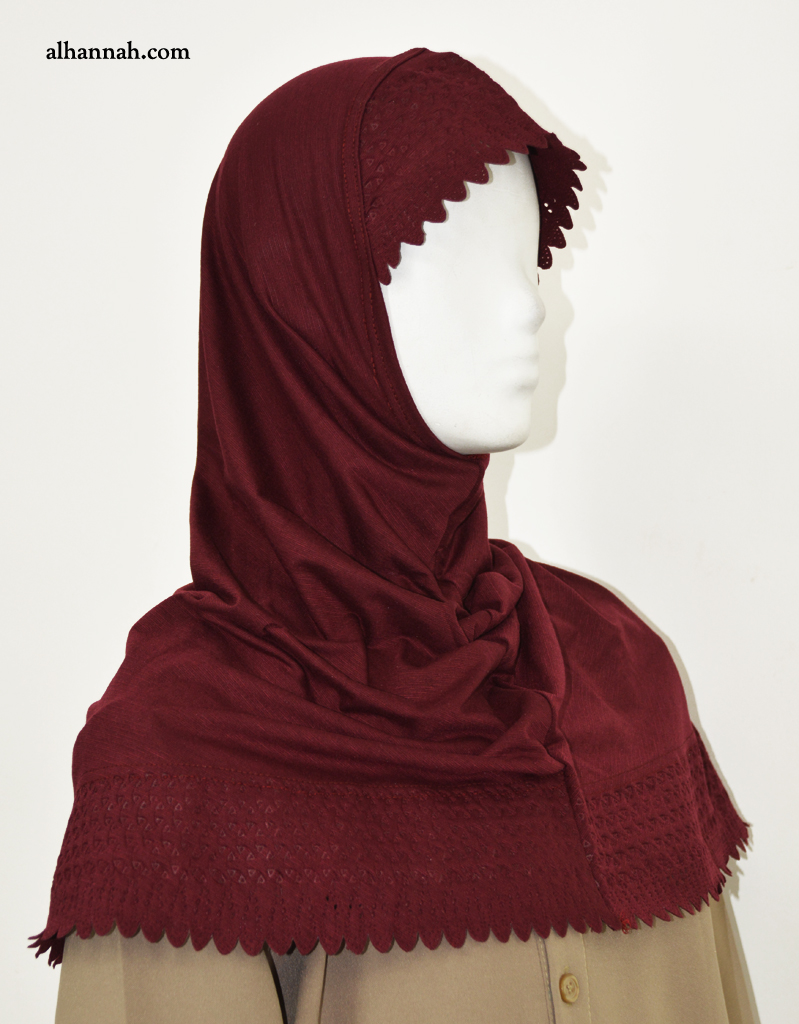 AlAmirah Hijab Solid Color with Scalloped Edge hi2040