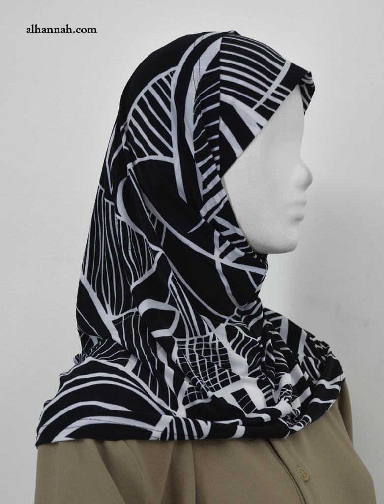 AlAmirah Hijab with Contrasting Geometric Print  hi2042