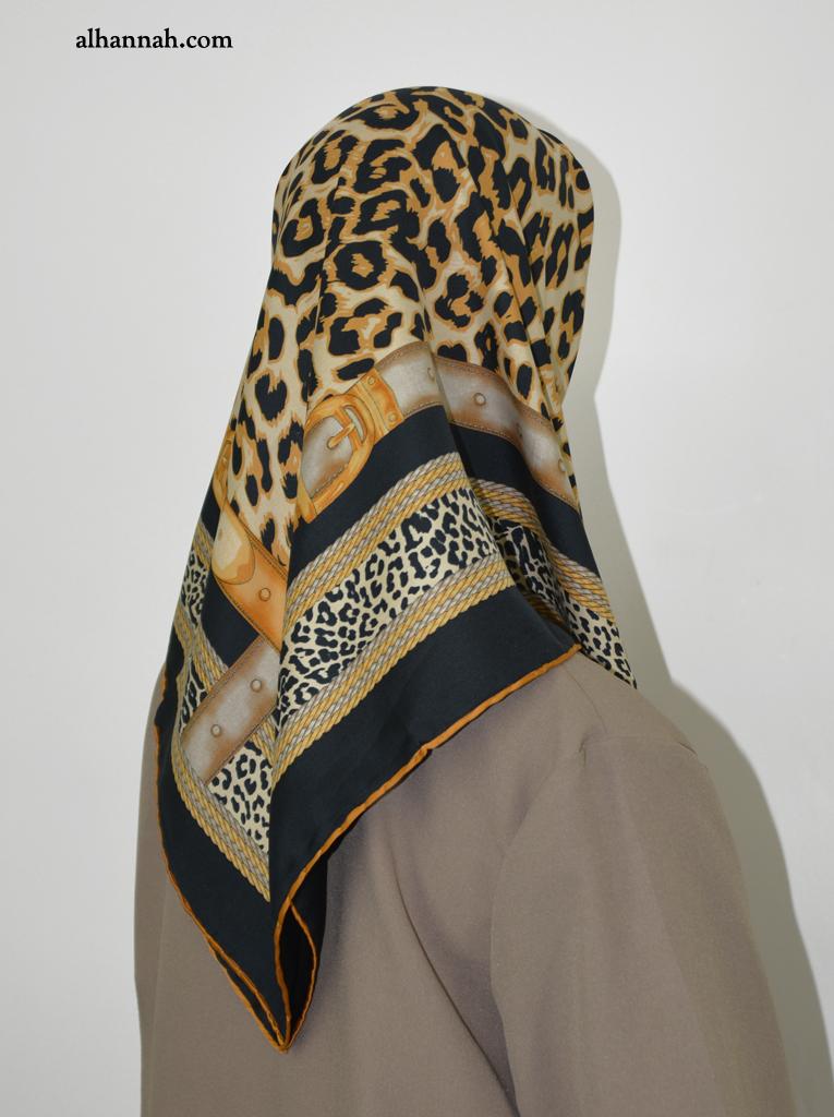 Turkish Satin square hijab with Leopard print hi2049