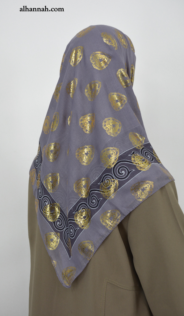Turkish Hijab with Gold Paisley Heart Print hi2054