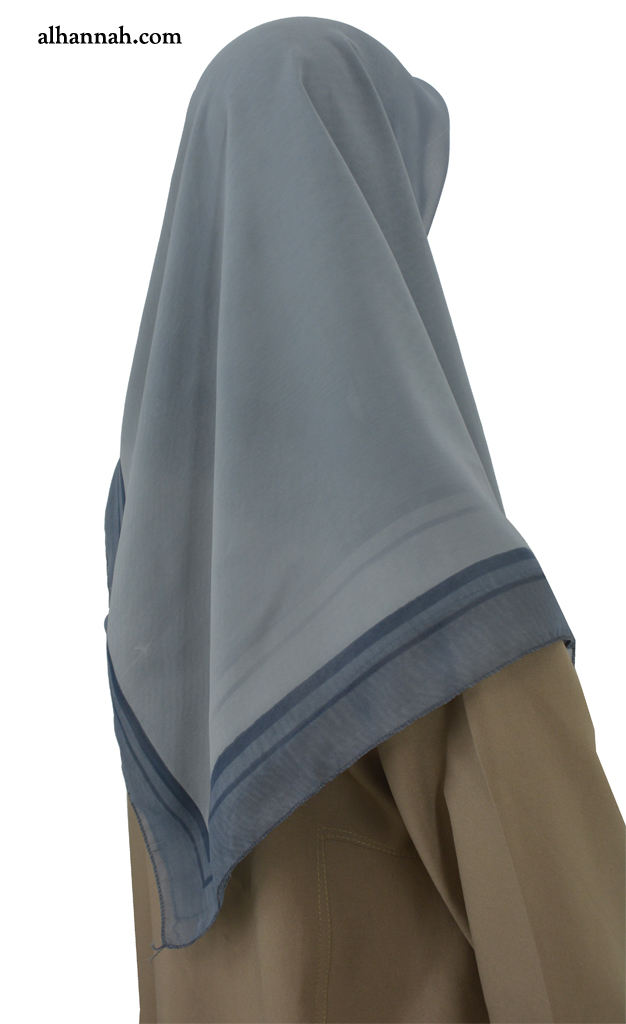 Georgette Solid Color Hijab with Contrasting Border hi2061